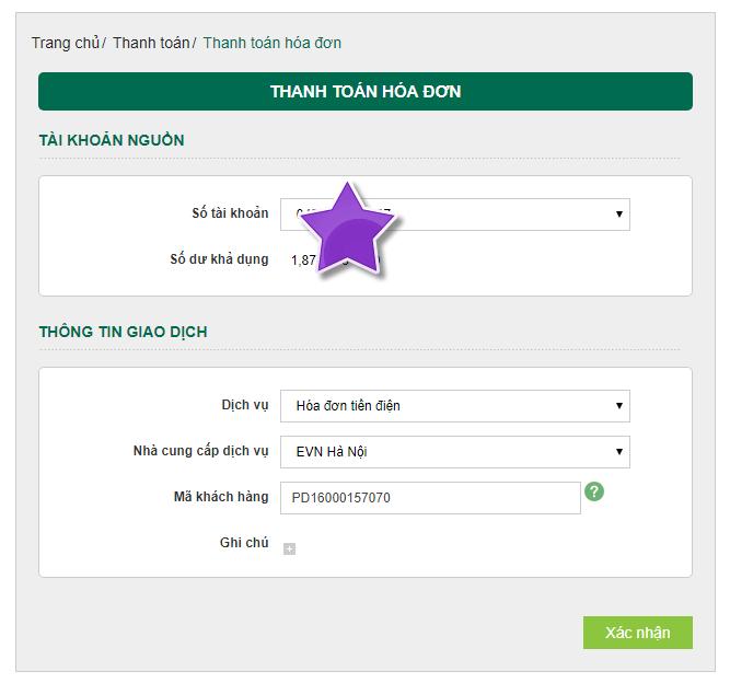 VietComBank thanh toán tiền điện trực tuyến