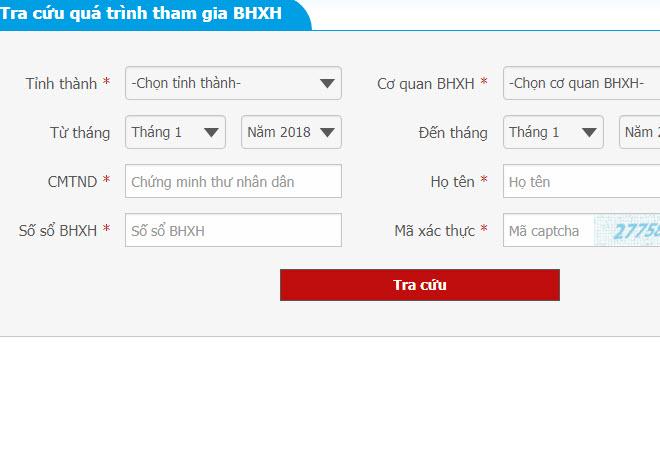 Tra thông tin đóng BHXH