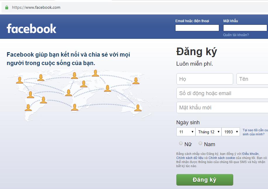 Tạo tài khoản facebook từ số điện thoại