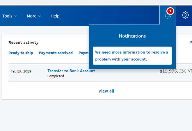 Rút tiền paypal về bank sau 180 ngày limit