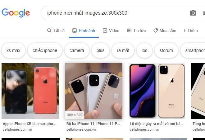 Tìm hình ảnh qua Google theo đúng kích thước