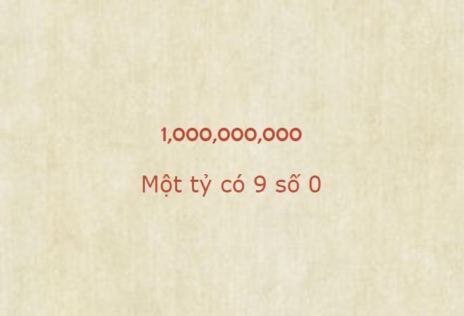 Một tỷ có mấy số 0