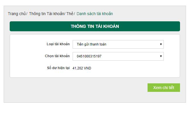 Số dư tối thiểu trong tài khoản VietComBank